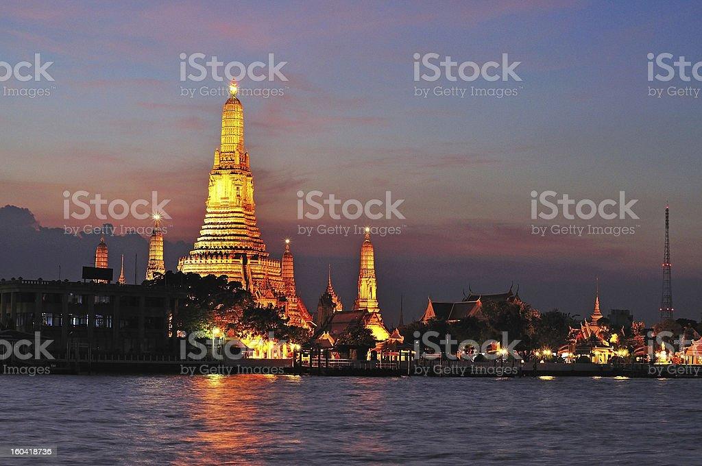View of Wat Arun during sunset in Bangkok, Thailand royalty-free stock photo