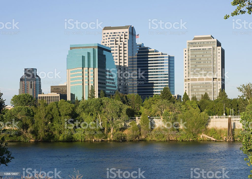 View of water and Sacramento city, California at daytime stock photo