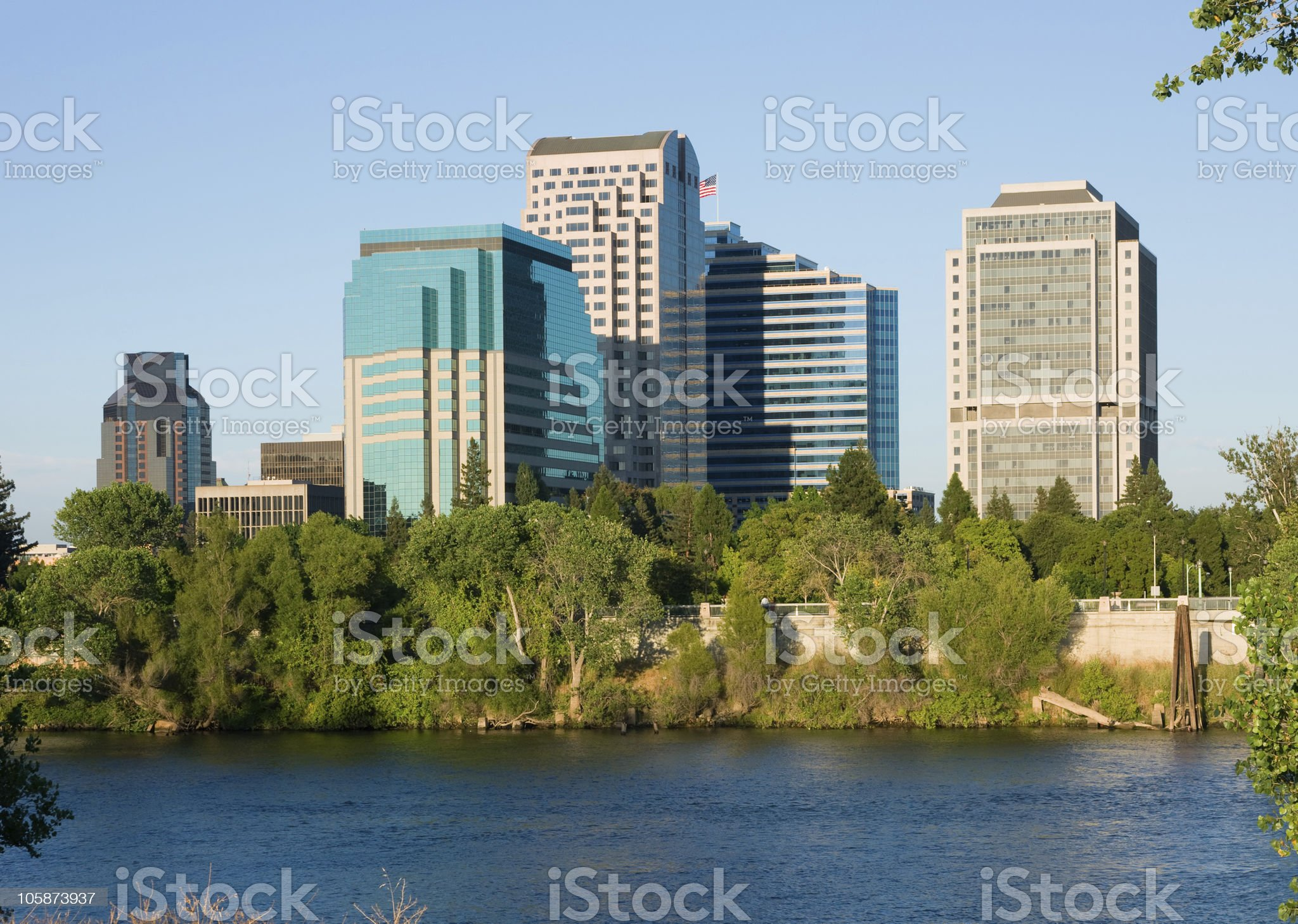 View of water and Sacramento city, California at daytime royalty-free stock photo