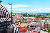 View of Wawel Castle from Church St. Mary in the