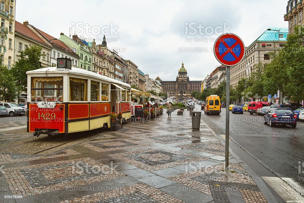 View of Wenceslas Square in Prague stock photo