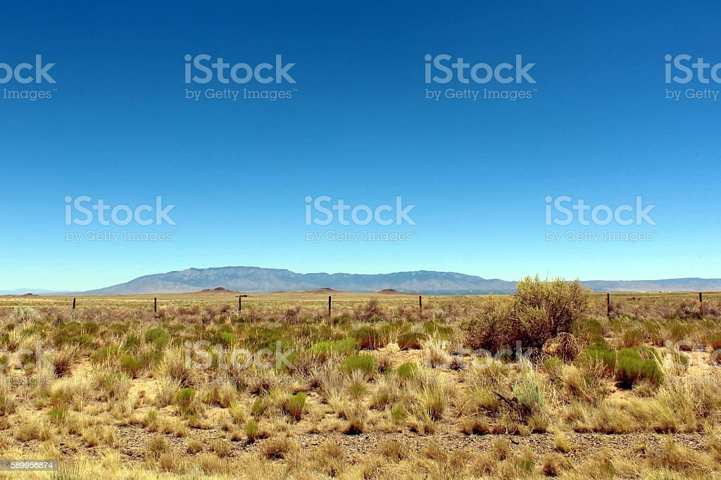 View of West Mesa, Volcanoes, and Sandia Mountains in Albuquerque. stock photo