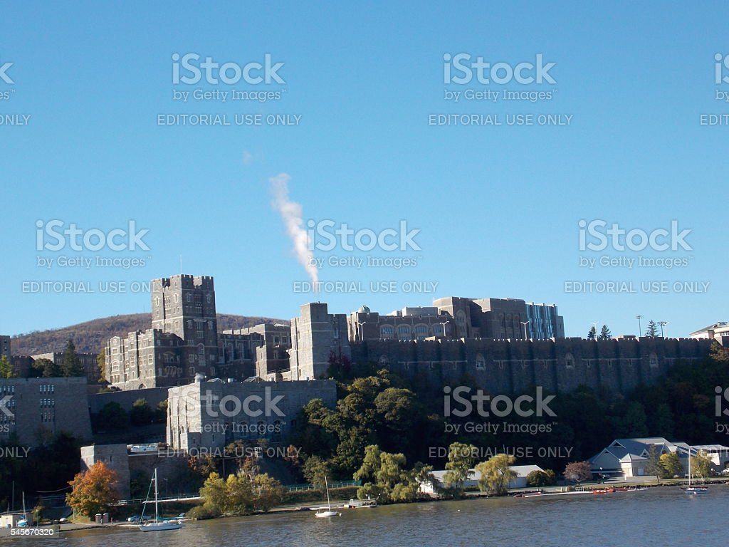 View of West Point from Hudson River stock photo
