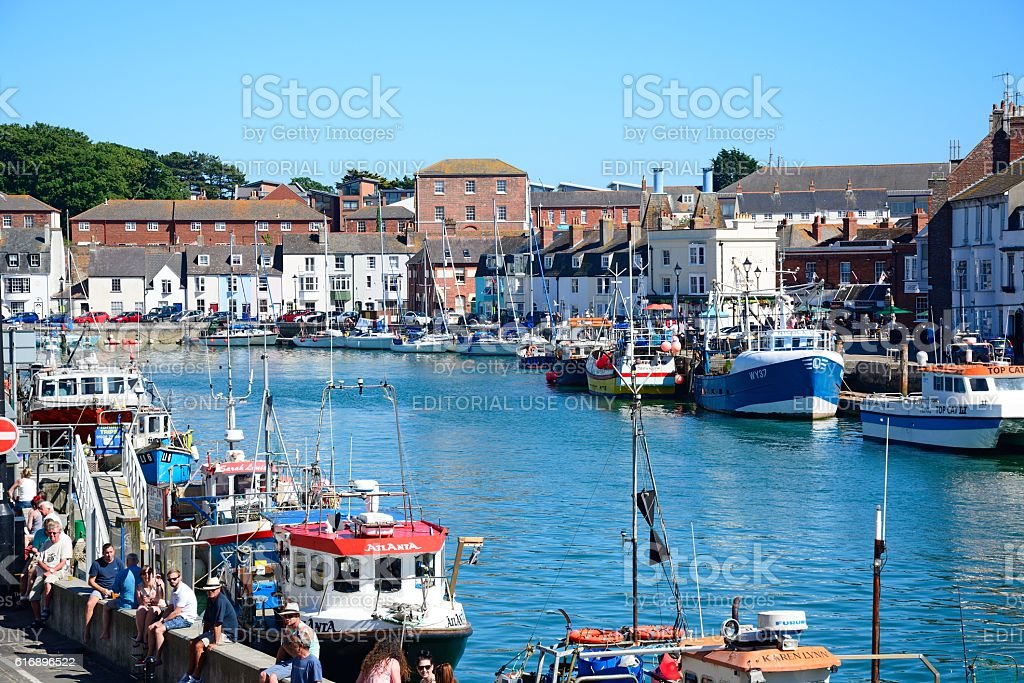 View of Weymouth harbour. stock photo