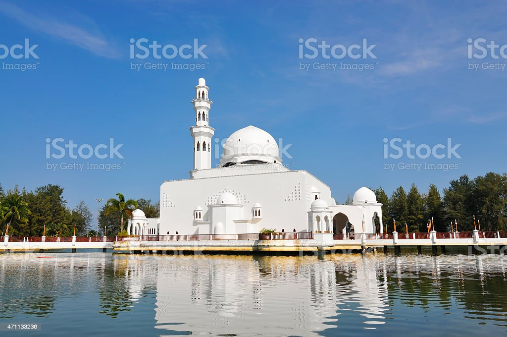 View Of White Floating Mosque On Daylight stock photo
