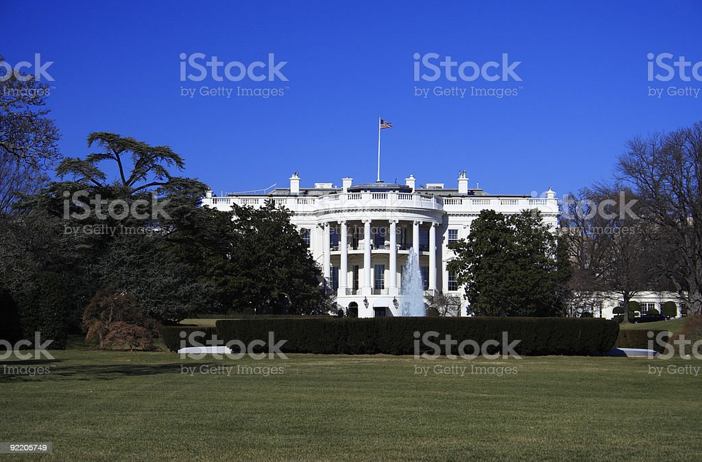 View of White House with clear blue sky stock photo