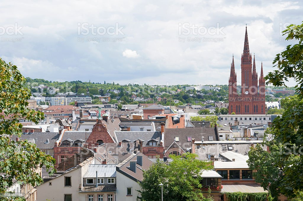 View of Wiesbaden with bird's-eye view. stock photo
