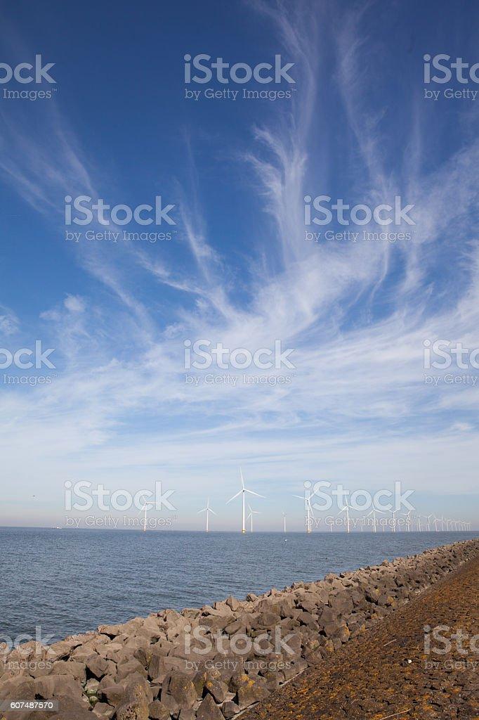 View of windpark in the Dutch Noordoostpolder stock photo