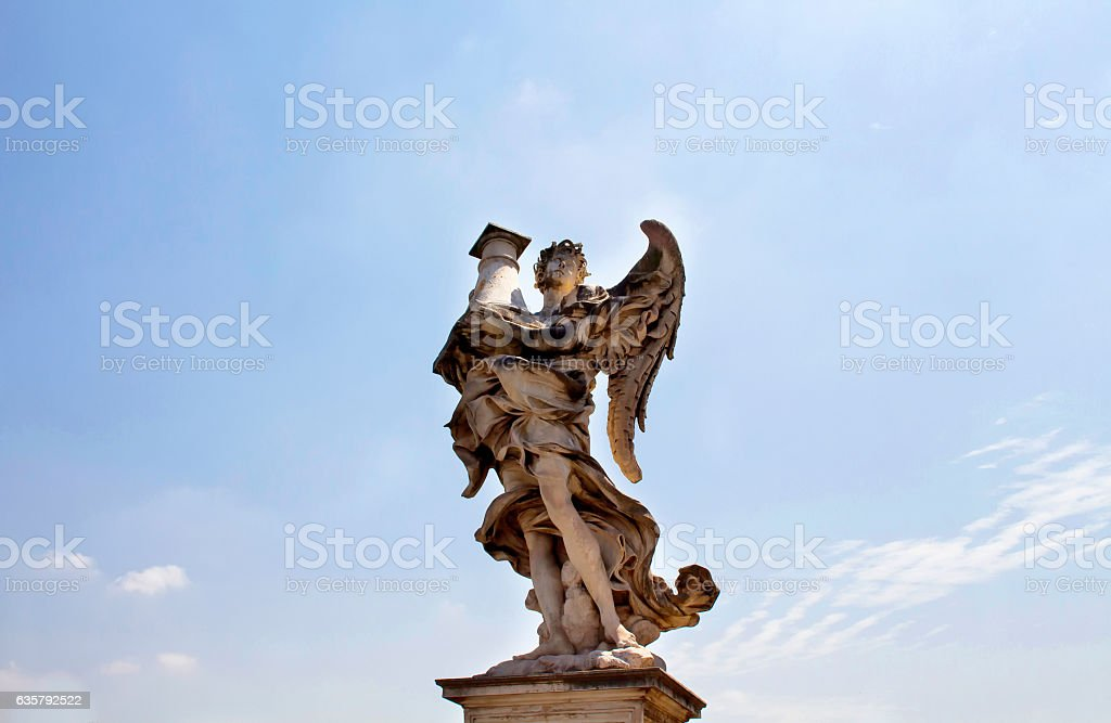View of winged man statue stock photo