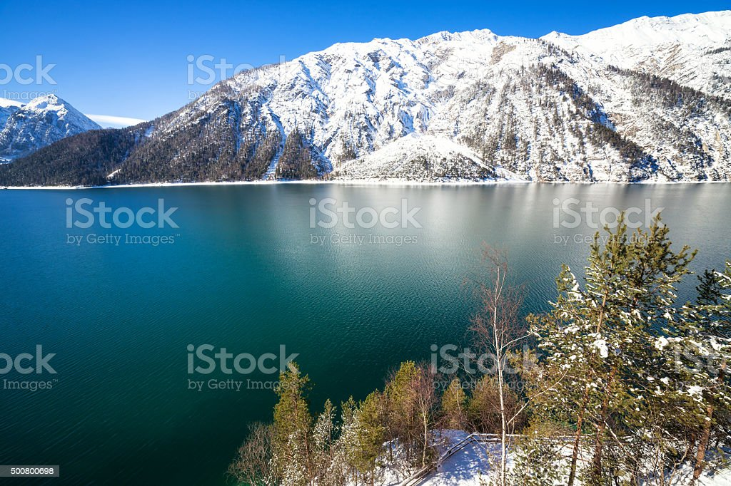 View of winter Mountain Lake stock photo