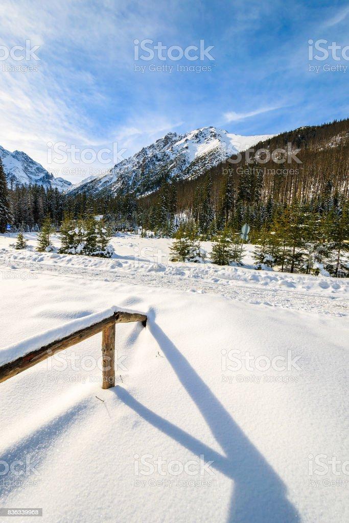 A view of winter scenery in Tatra Mountains near Morskie Oko lake, Poland stock photo