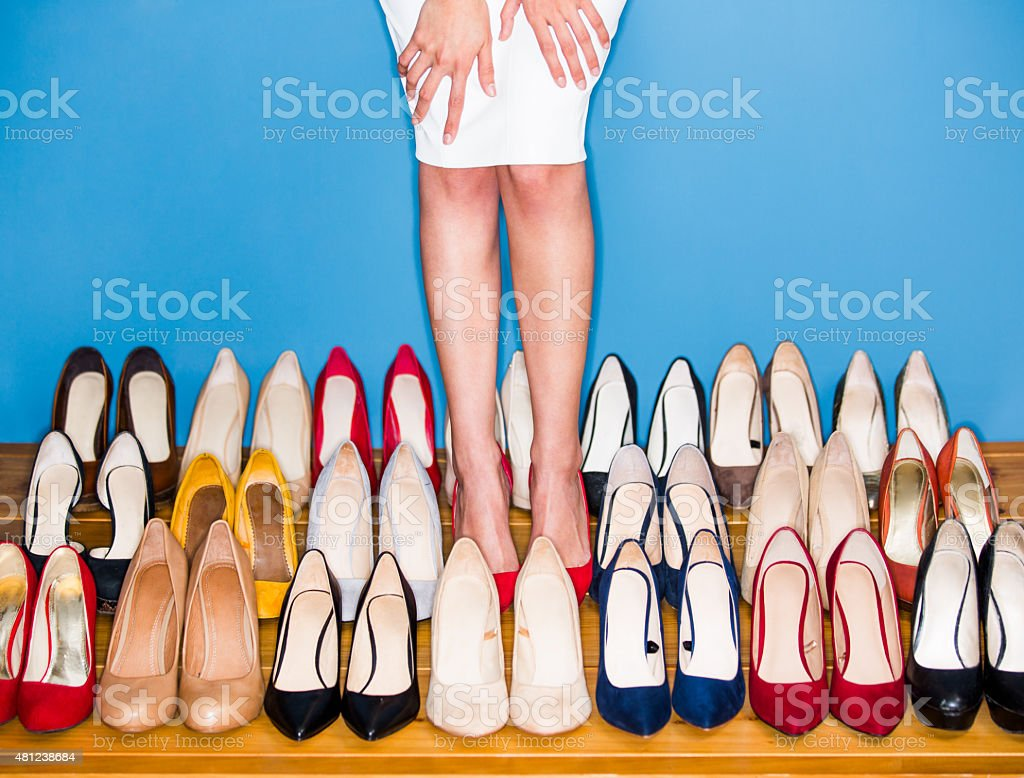 View of woman wearing high heels stock photo