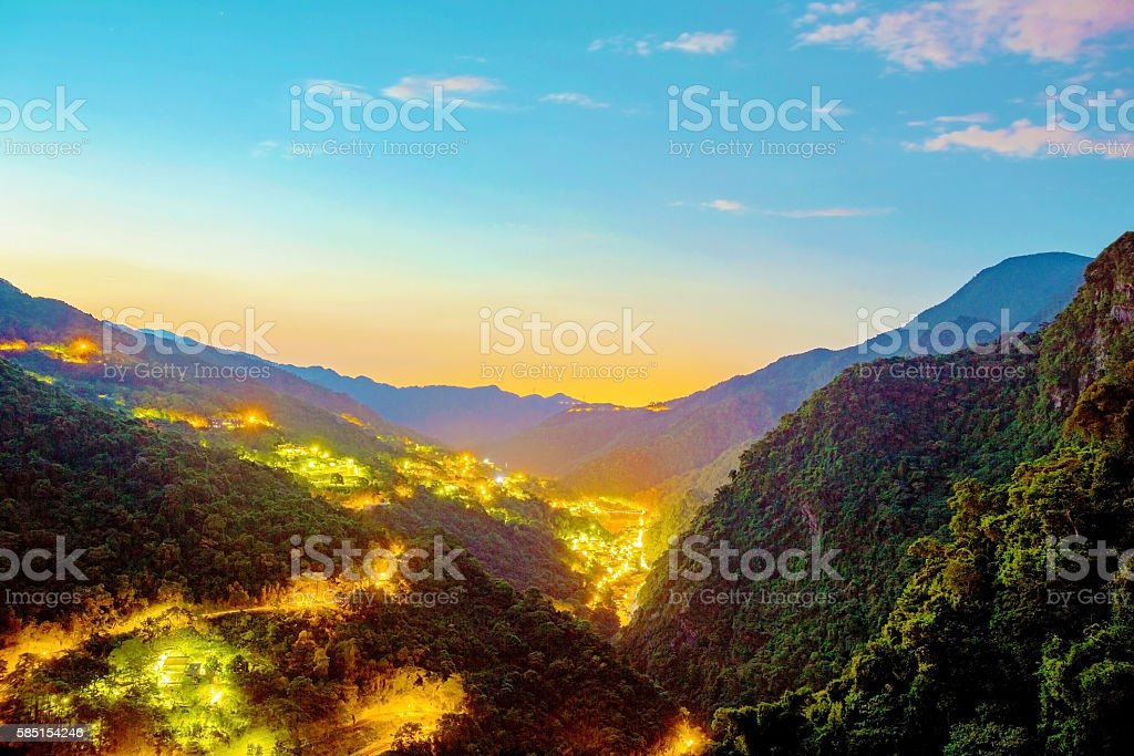 View of Wulai hot spring village stock photo