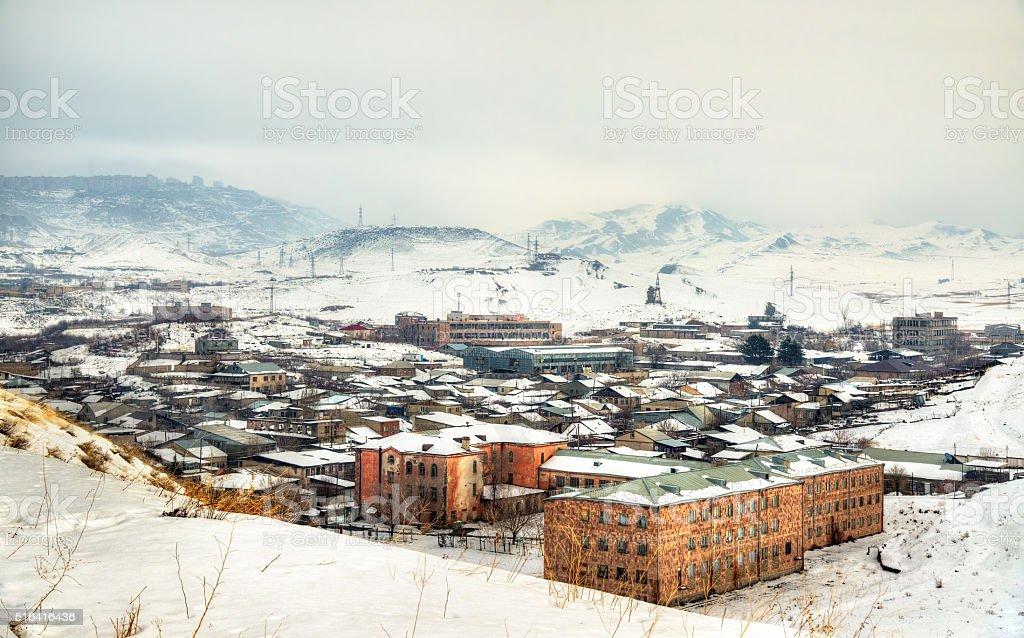 View of Yerevan from Erebuni Fortress stock photo