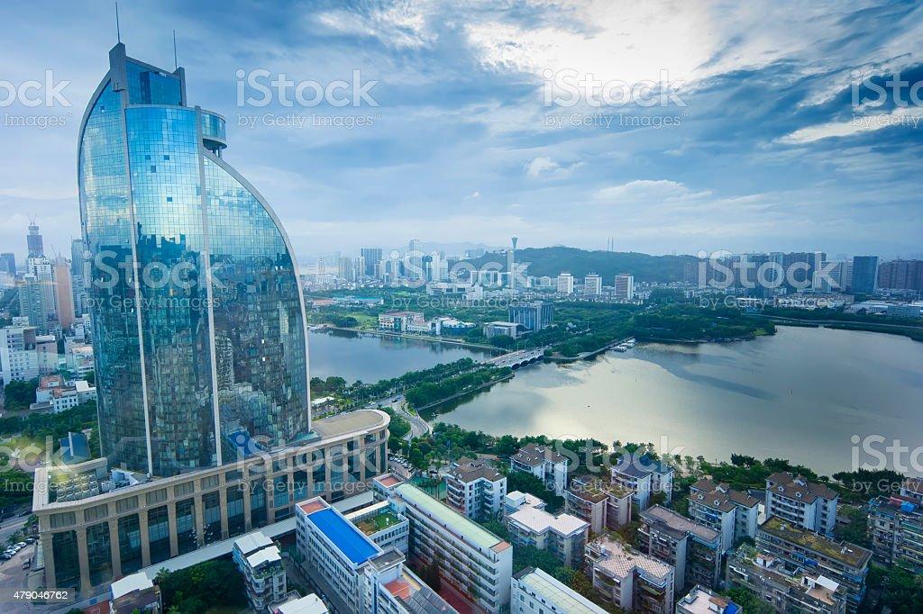 View of yundang lake at xiamen stock photo