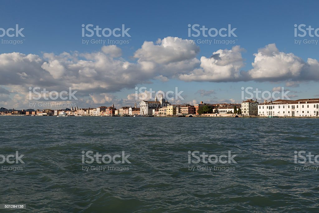 View of Zattere waterfront, Venice, Italy stock photo