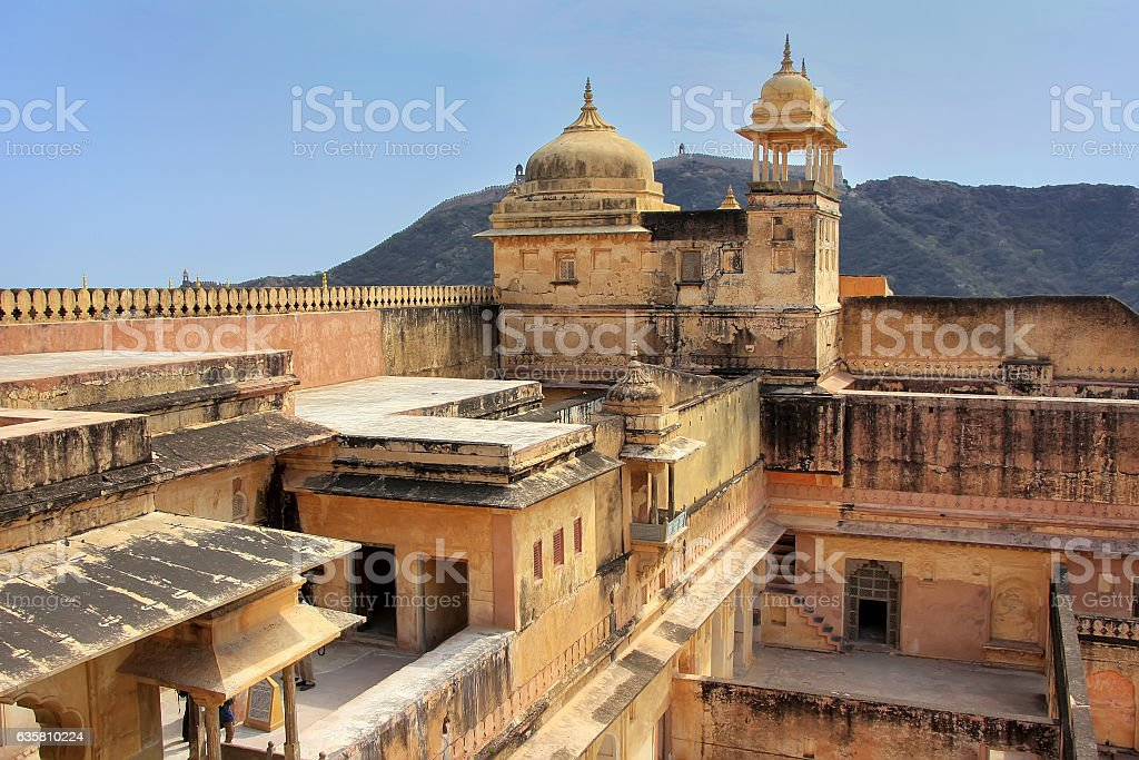 View of zenana in the fourth courtyard of Amber Fort stock photo