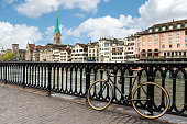 View of Zurich on Fraumunster Church with bicycle in Switzerland.