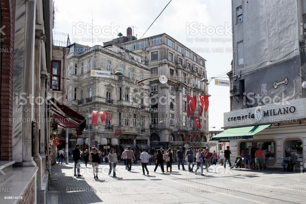 View ofTunel / Asmalımescit area of Istiklal avenue stock photo