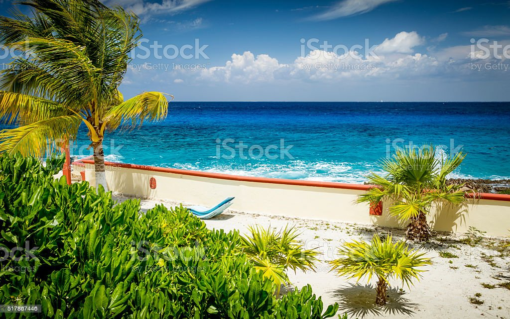 View on a beautiful ocean from a exotic island stock photo