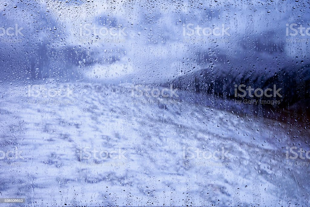 view on a cold winter landscape outside the window stock photo