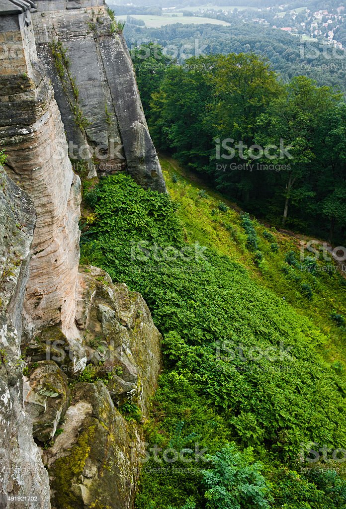 View on a detail of konigstein fortress stock photo