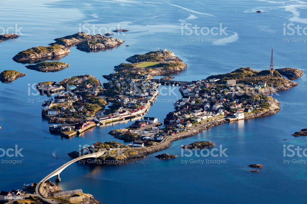 View on a fishing village Henningsvaer stock photo