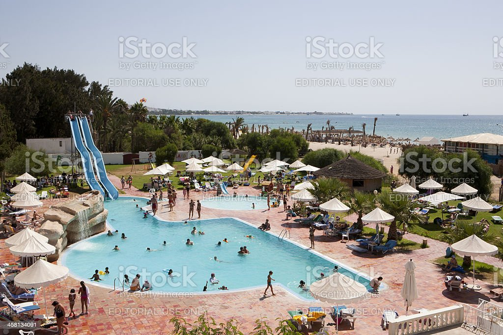 View on a hotel pool close to the mediterranean coast stock photo