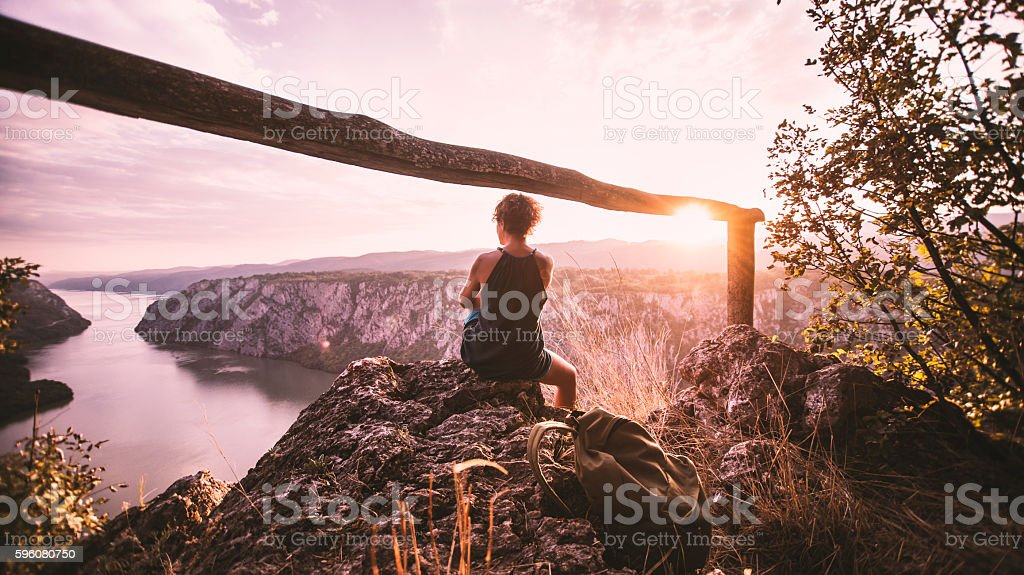 View on a sunset stock photo