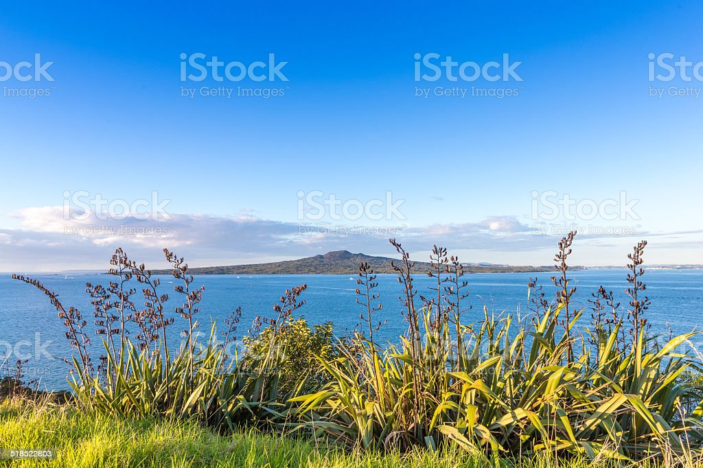 View on a volcanic island through the grass stock photo