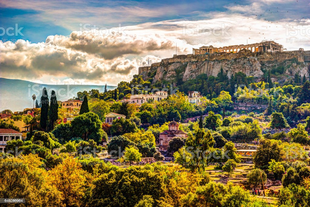 View on Acropolis from ancient agora, Athens, Greece stock photo