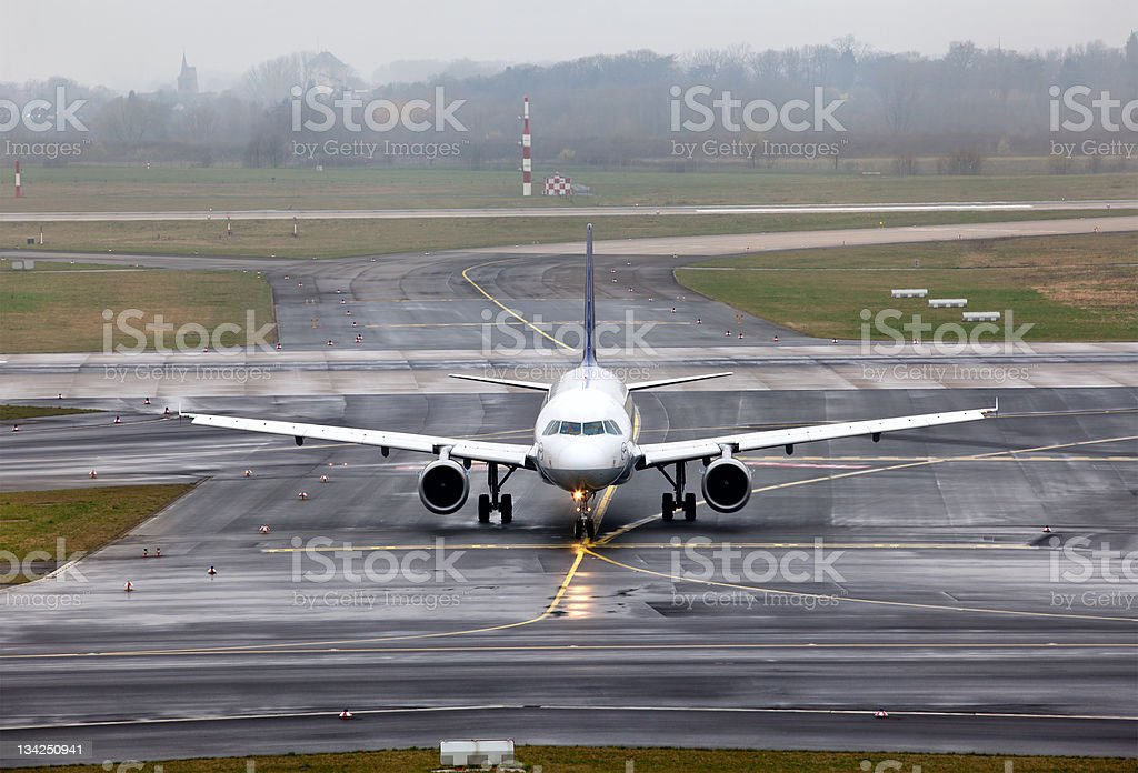 view on an aircraft which preparing to take off royalty-free stock photo