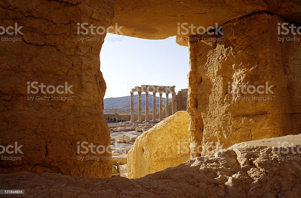 View on an ancient ruins in Palmyra, central Syria stock photo