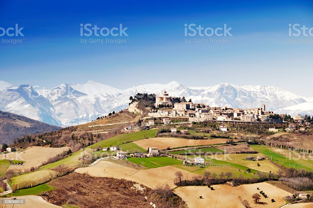 View on an Italian village in the Marche region, Italy stock photo