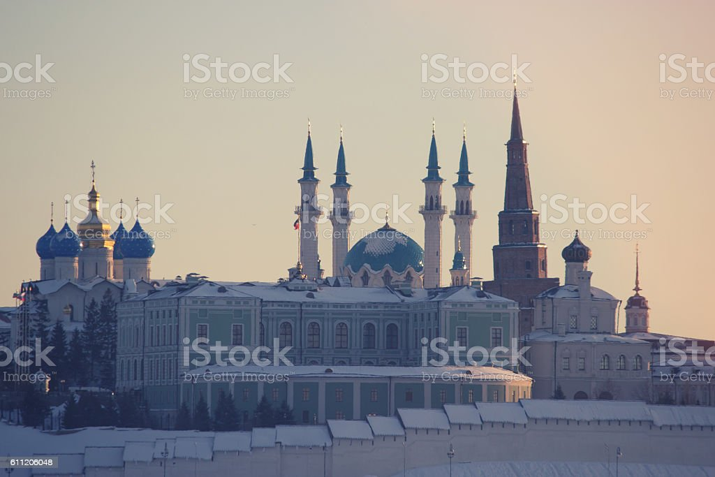 View on ancient city, winter stock photo