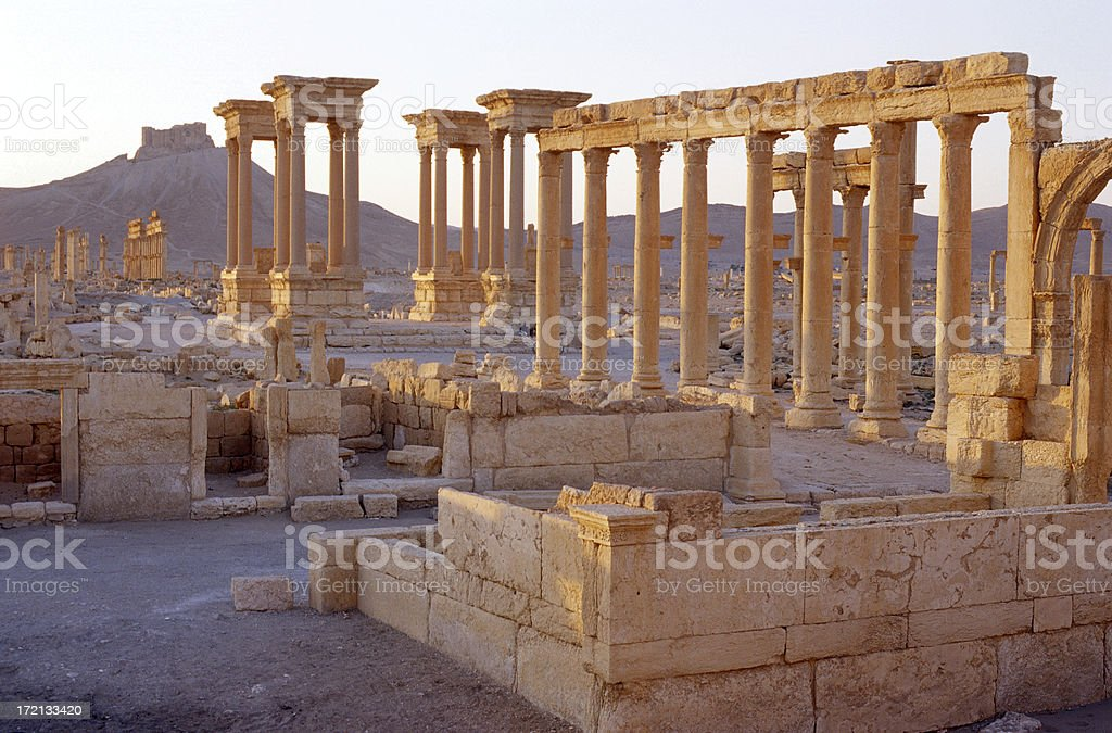 View on ancient pillars stock photo