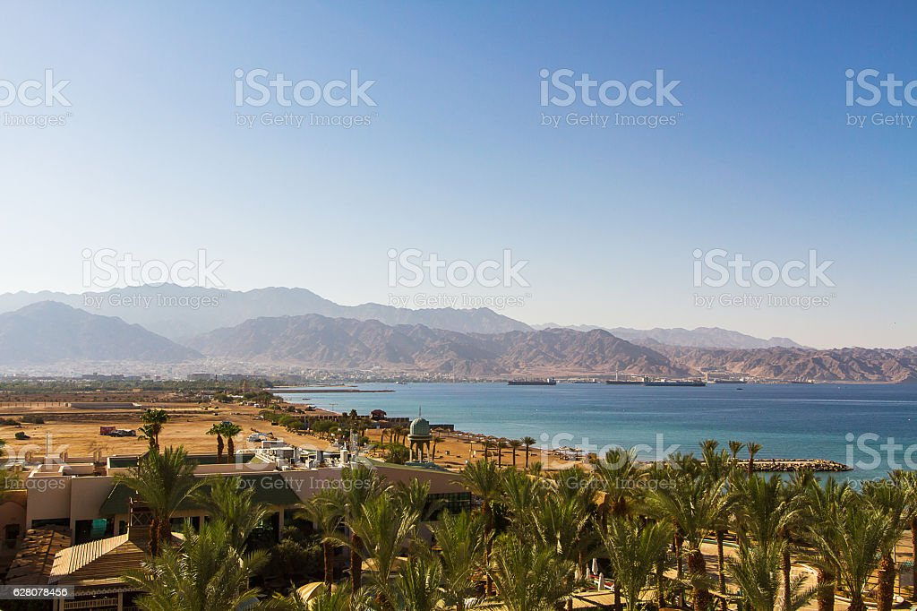 View on Aqaba sea port . Red Sea . stock photo