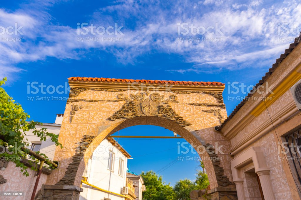 View on arch in old town stock photo