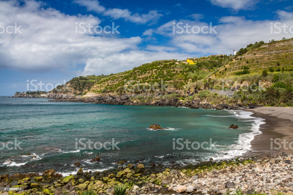 View on Atlantic Ocean coast near Ponta Delgada city on Sao Miguel island, Azores, Portugal stock photo