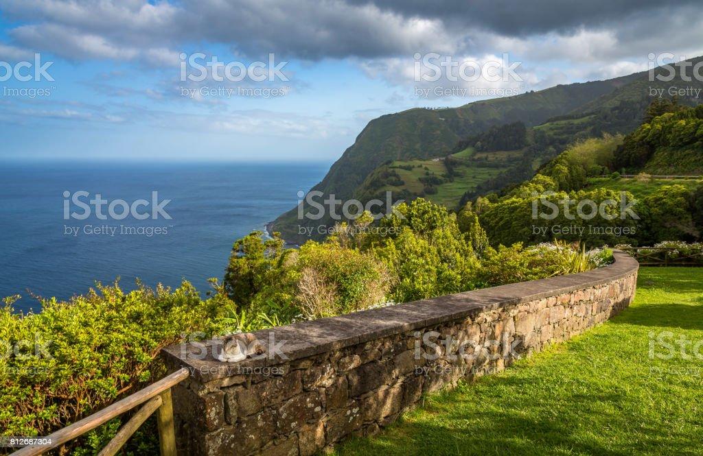 View on Atlantic Ocean Coast, Sao Miguel island, Azores, Portugal stock photo