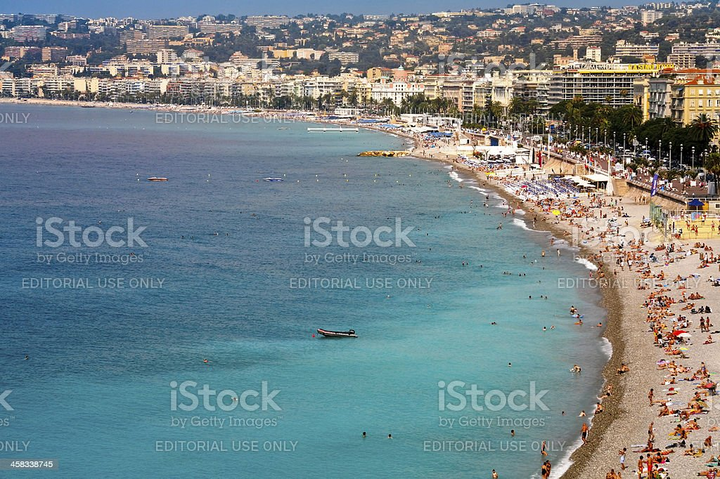 view on Azure coast in Nice, France stock photo