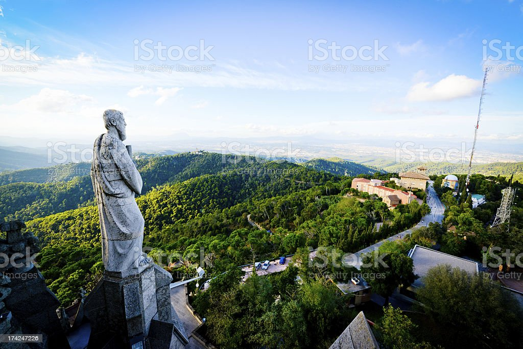 View on Barcelona from Tibidabo mountain stock photo