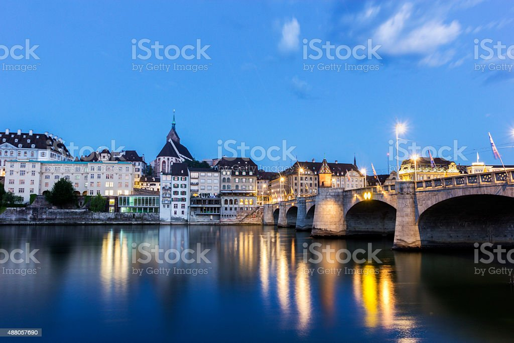 View on Basel in Switzerland in the morning stock photo