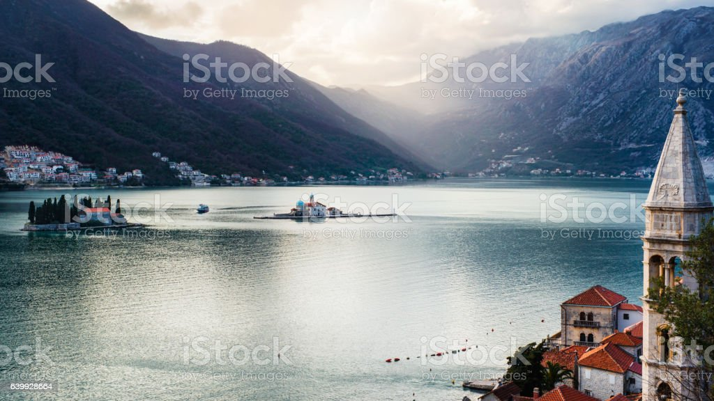 View on bay of Kotor, Montenegro stock photo