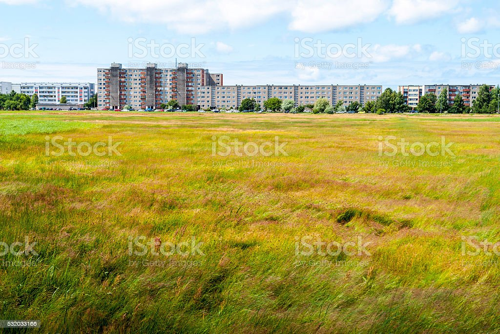 View on blocks of flats from the Liepaja lake stock photo