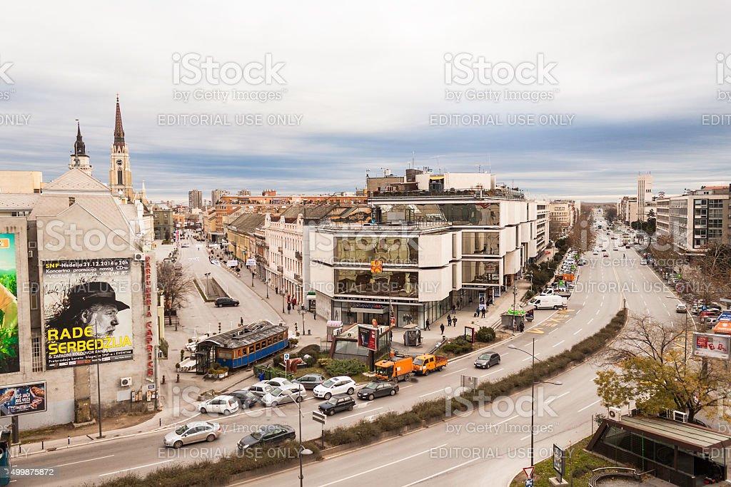 View on boulevard Mihajla Pupina and street King Alexander stock photo