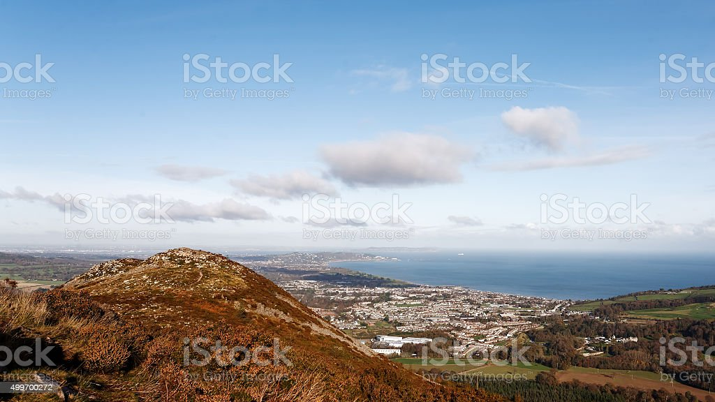 View on Bray from Little Sugarloaf royalty-free stock photo