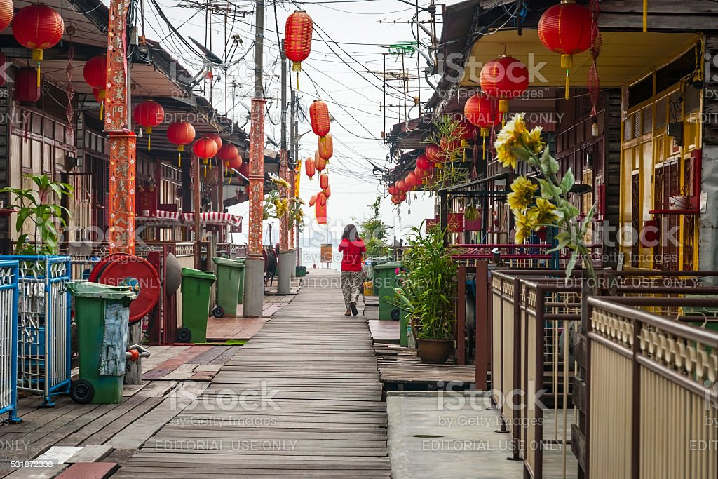 View on bright sidewalk in George town stock photo