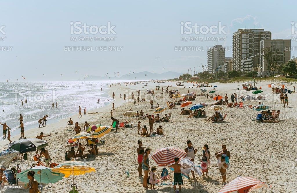 View on bright sunny summer beach of Rio de Janeiro stock photo