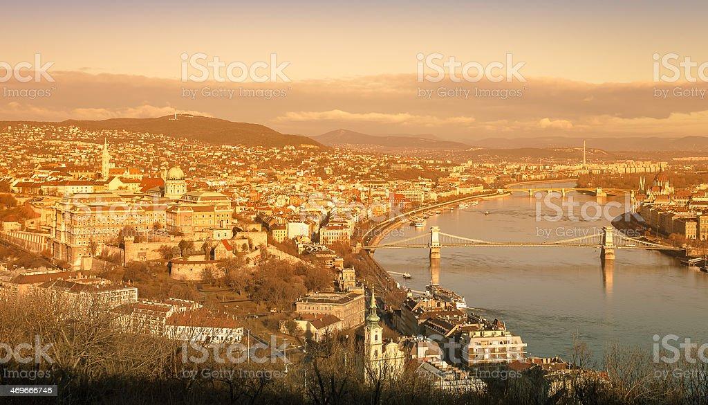 View on Budapest from Gellert Hill, Hungary. Houses, river Danub stock photo